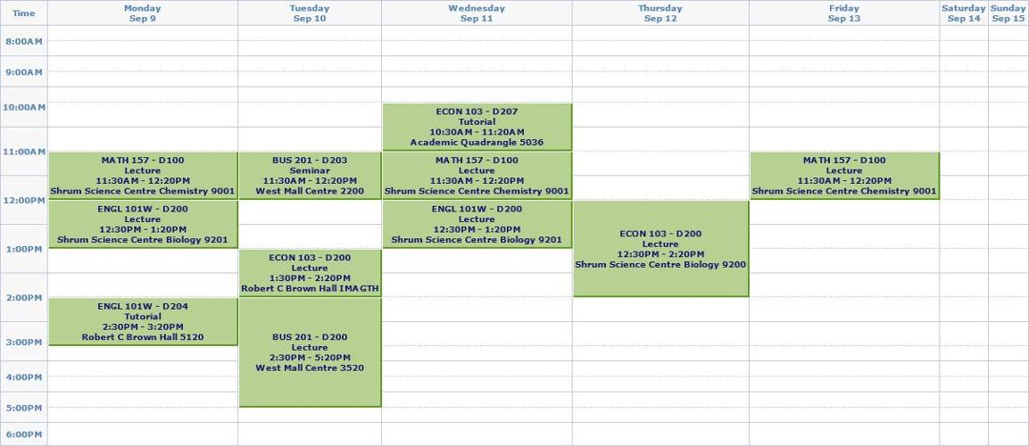 First semester schedule