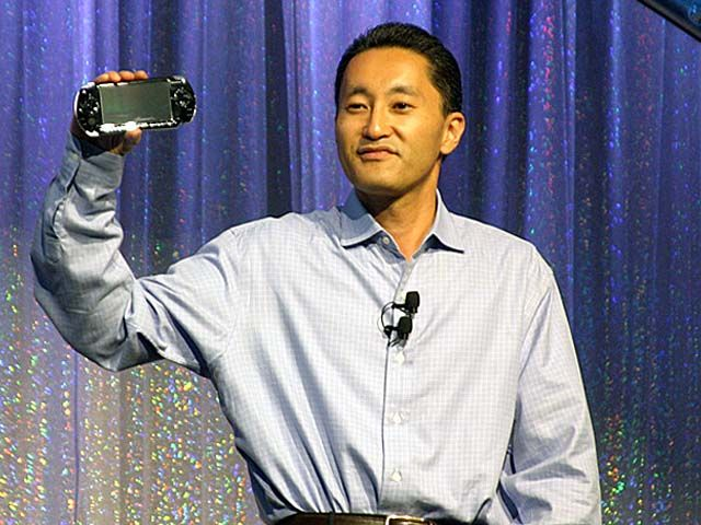 Kaz Hirai showcased the original PlayStation Portable at E3 2004.